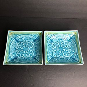 2 Roscher LORELEI Blue Square Bowls - crazing
